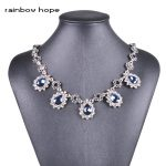 women's fashion necklace <b>jewelry</b> Navy Blue water drop crystal stone vintage style <b>Antique</b> Silver color pendant choker necklaces
