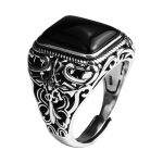 Real 925 Sterling Silver Vintage Rings For Men Natural Black Onyx Stone Square Shape Hollow Cross Flower Carved Punk <b>Jewelry</b>