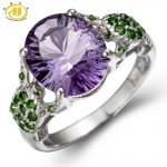 Hutang 3.79ctw Genuine Brizal Amethyst Chrome Diopside Wedding Ring Sterling <b>Silver</b> Tortoise Women Fine Fashion Stone <b>Jewelry</b>