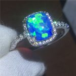 <b>Handmade</b> Lovers Anniversary ring Blue Opal Cz White Gold Filled Party wedding band rings for women Men <b>Jewelry</b> Gift
