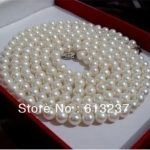 Newly white freshwater cultured round natural 7-8mm pearl <b>making</b> charms necklace 48 inch MY4575