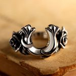 ZABRA Vintage Rings For Men Women Horseshoe Shape Rose Flower Steampunk Retro Thai <b>Handmade</b> 925 Sterling Silver Male <b>Jewelry</b>