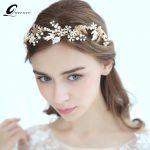 QUEENCO Golden Wedding Hair Accessories Bridal Headbands Tiara Hair Vine <b>Handmade</b> Bridal Headpiece Fashion <b>Jewelry</b> For Bride