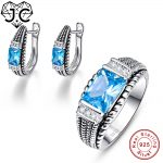 J.C Engagement <b>Jewelry</b> Women Delicate Blue Topaz Ring & Earring Real Solid 925 Standard <b>Sterling</b> <b>Silver</b> Lover <b>Jewelry</b> Set