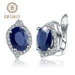 Gem's Ballet 3.32Ct Oval Natural Blue Sapphire Gemstone Stud Earrings 925 <b>Sterling</b> <b>Silver</b> Wedding Fine <b>Jewelry</b> for Women