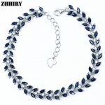 ZHHIRY Natural Sapphire Gem Stone <b>Bracelet</b> Deep Blue Solid Sterling <b>Silver</b> For Women Prom Real Party Fine Jewelry