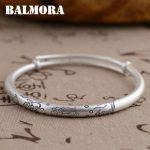 BALMORA 990 Pure <b>Silver</b> Vintage Double Fishes Lotus <b>Bracelets</b> Bangles for Women Gift Thai <b>Silver</b> Jewelry High Quality SZ0120