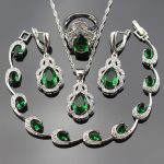 925 Stamp Green Cubic Zirconia Jewelry Sets For Women <b>Silver</b> Color Necklace/Earrings/Ring/Pendant/<b>Bracelets</b> bjs25