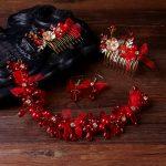 TUANMING Hot Trendy <b>Jewelry</b> Handmade Red Pearl <b>Jewelry</b> SetsCharm Hair Comb Headbands For Women Yarn Hair Accessories Wholesale