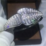 High Quality Luxury Bridal Big Bangle Princess cut 5A Zircon Cz White Gold Filled Engagement Bracelet for women <b>wedding</b> <b>Jewelry</b>