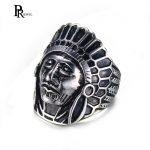 PJ <b>Jewelry</b> Men's Stainless Steel Vintage <b>Native</b> <b>American</b> Indian Punk Skull Black Silver Classic Ring US Size 8 9 10 11 12