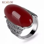 KCALOE <b>Antique</b> Big Red Onyx Stone Rings For Women Vintage Retro <b>Jewelry</b> Silver Color Marcasite Statement Ring Bague Argent