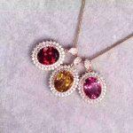 natural red garnet pendant S925 <b>silver</b> Natural pink topaz citrine Pendant Necklace trendy Elegant round women party fine <b>jewelry</b>