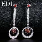 EDI Classic 100% Natural Garnet 925 <b>Sterling</b> <b>Silver</b> Drop Earrings Female European Style Fine <b>Jewelry</b>