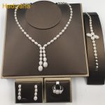 Exclusive Cubic Zirconia Oval 4pcs Wedding Bridal <b>Jewelry</b> Set Vners Shining Copper Dubai <b>Jewelry</b> Sets For Ladies HADIYANA CN088