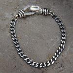 Hot Sale Men 925 Sterling <b>Silver</b> Punk Real <b>Silver</b> Link Chain <b>Bracelet</b> Bangle Fashion Wristband