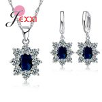 Giemi 925 Sterling <b>Silver</b> Necklace Earrings <b>Jewelry</b> Set With 3 Color Zircons Crystal Wholesale Price Bijoux Women Wedding Gift