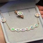Multicolored <b>jewelry</b> natural opal set fire 925 exquisite <b>Silver</b> Ring Necklace Earrings Set