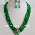 Wholesale free shipping >>Fashion Set Green stone <b>Necklace</b> Flower <b>Necklace</b> Earring