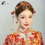 Traditional Hair Sticks Chinese Bridal Hairpins Headpiece Vintage Hairwear Beads <b>Handmade</b> Bride Wedding Hair Accessory Gift