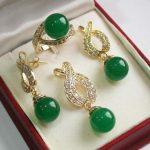 Women's Wedding <b>Jewelry</b> 12mm Green stone Pendant Necklace Earrings Ring set real silver-<b>jewelry</b>