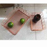 Copper Iron art Storage basket Rose gold Wire basket stationery cosmetic <b>jewelry</b> Kitchen storage Office <b>Supplies</b>