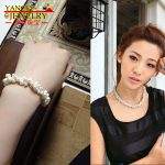 YANCEY Fashion Natural 7-8mm white freshwater pearl fine jewelry sets 18″, Pearls intertwined with each other with S925 <b>Silver</b>