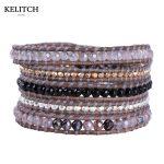 KELITCH <b>Jewelry</b> 1Pcs 5 Wrap Bracelet <b>Handmade</b> Leather Chain Synthetic Stone Gold-color Nuggets Friendship Bracelets Top Package