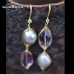 GLSEEVO Raw Mineral Amethyst Baroque Natural Freshwater Pearl Drop Earrings For Women Handmade Dangle Earrings <b>Jewelry</b> GE0348