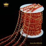 5Meters 3x4mm Transparent Red Glass Beaded Chains,Faceted Rondelle Glass Wire Wrapped with Gold Copper Rosary Chain <b>Supply</b> HX108
