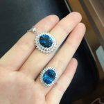 Natural blue topaz gem jewelry sets natural gemstone ring Pendant <b>Earrings</b> 925 <b>silver</b> Stylish round big Dian women party jewelry