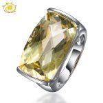Hutang Big Lemon Quartz Diamond Rings Pure 925 <b>Sterling</b> <b>Silver</b> <b>Jewelry</b> Solitarie Ring For Women Fine Cocktail Anel Feminino Gift