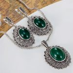 fashion Women's Vintage <b>Jewelry</b> Sets of Wedding <b>Accessories</b> Turkish Pendant Earring <b>Jewelry</b> set Antique silver Necklace