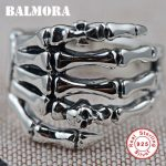 BALMORA 100% Real 925 Sterling Silver Hand & Skull Rings for Men Vintage Ring Party Gifts Male Punk Fashion <b>Jewelry</b> SY20226