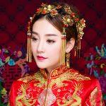 <b>Handmade</b> Ancient Chinese Bride Hair <b>Jewelry</b> Set Gold Color Tassels Wedding Headdress Ornaments Costume Hair Sticks Step Shake