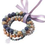 MetJakt Natural Gemstone Turquoise+Labradorite+Lava+Picasso Jasper-5 Pcs Elastic <b>Bracelet</b> with Double Happiness Charm 18-19cm