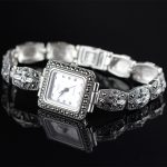 New Limited Classic Rectangle Elegant S925 <b>Silver</b> Thai <b>Silver</b> <b>Bracelet</b> Watches Thailand Process Rhinestone Bangle Dresswatch