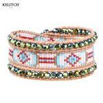 KELITCH <b>Jewelry</b> bracelet Brown Leather Charm Bracelet Natural Stone Multicolor Natural Beaded Bracelet&Bangles Weave <b>Handmade</b>