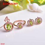 KJJEAXCMY boutique jewels 925 <b>silver</b> inlaid natural olivine suit fashion gems jewelry