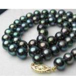 Women Gift Freshwater Rare!8-9MM black Akoya Cultured Pearl Necklace Rope Chain Beads <b>Jewelry</b> <b>Making</b> Natural Stone