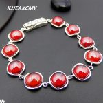 KJJEAXCMY Fine jewelry Thai <b>silver</b> garnet <b>bracelet</b> 925 sterling <b>silver</b> retro fashion ladies new atmosphere