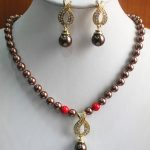 Prett Lovely Women's Wedding Wholesale8mm coffee pearl lady's necklace+14mm pearl earring and necklace pendant <b>jewelry</b> set