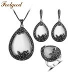 Feelgood Vintage Silver Color Jewellery Big Water Drop Pendant Necklace Set Natural Stone White Opal <b>Jewelry</b> Sets For Women Gift