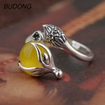 BUDONG Genuine 925 Sterling <b>Silver</b> Rings for Women Natural Yellow Chalcedony Stone Fine <b>Jewelry</b> Cute Fox Animal Resizable Jewel