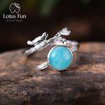 Lotus Fun Real 925 Sterling <b>Silver</b> Natural Aquamarine Stone Handmade Original Designer Fine <b>Jewelry</b> Vintage Female Rings Bijoux