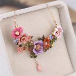 Warmhome Trendy <b>Jewelry</b> French Violet Flowers Gem Enamel Glaze For Women <b>Necklace</b>