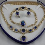Prett Lovely Women's Wedding 2 choices wholesale blue crystal 10mm ring(#67.8.9) chain pendant necklace stud earrings &bracelet