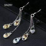 SINZRY exquisite <b>Jewelry</b> DIY <b>handmade</b> tassel crystal earrings 925 sterling silver Austria crystal bridal earrings for women