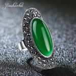 JIASHUNTAI Vintage 925 Sterling Silver Rings For Women Retro Big <b>Wedding</b> Rings Thai Silver <b>Jewelry</b> Female 4 Color