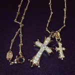 New Classic Brand Pure 925 Sterling <b>Silver</b> Jewelry For Women Gold Color Cross Pendant Double Cross <b>Necklace</b> CZDiamond 70CM Chain
